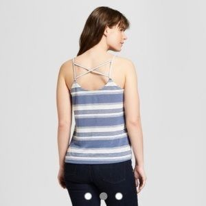 Universal Threads Blue and Cream Striped Tank Top